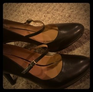 Calvin Klein black leather Mary Jane heels size 11